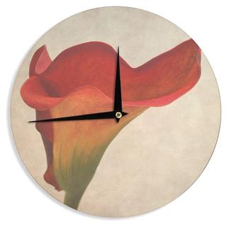 KESS InHouseIris Lehnhardt 'Calla' Red Flower Wall Clock