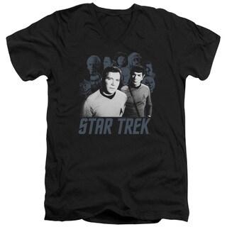 Star Trek/Kirk Spock and Company Short Sleeve Adult T-Shirt V-Neck in Black