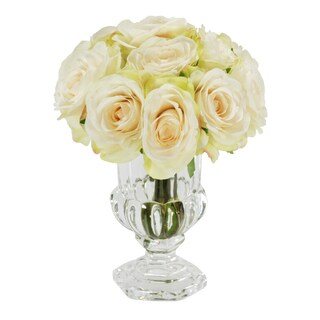 Jane Seymour Botanicals White Rose Bouquet in 9-inch Clear Glass Footed Vase
