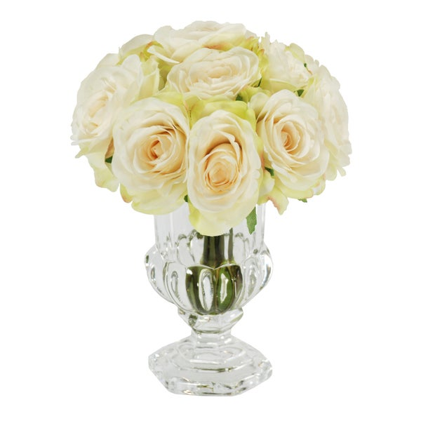 Shop Jane Seymour Botanicals White Rose Bouquet In 9 Inch Clear