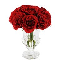 Jane Seymour Botanicals Red Rose Bouquet In 9-inch Footed Glass Vase