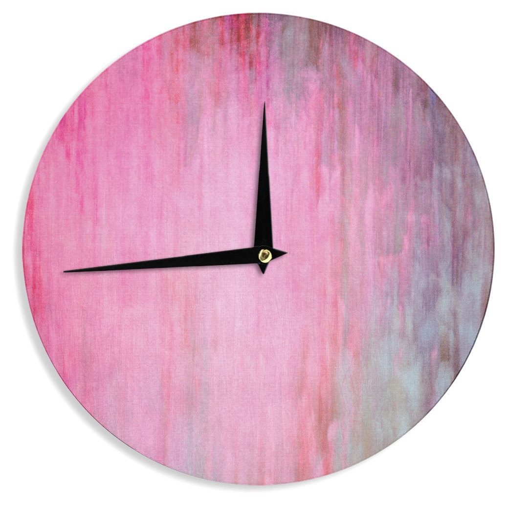 KESS InHouseIris Lehnhardt Color Wash Pink Blush Paint Wall Clock (Color Wash Pink)