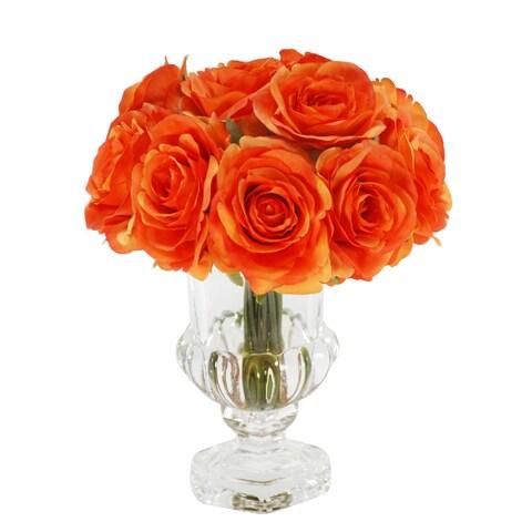 Jane Seymour Botanicals Orange Rose Bouquet in 9-inch Glass Footed Vase