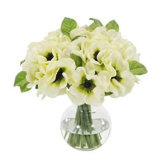 Jane Seymour Botanicals Cream Poppy Anemone Bouquet in 11-inch Glass Vase
