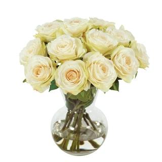 Jane Seymour Botanicals White 11-inch Rose Bouquet In Glass Vase