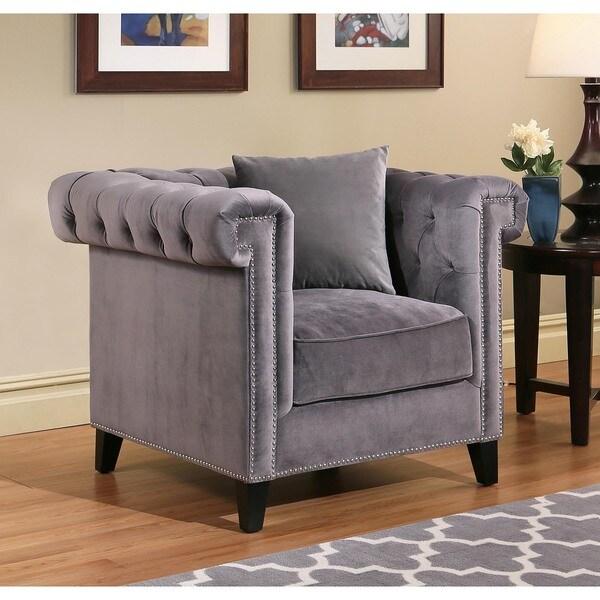 Abbyson Victoria Grey Velvet Tufted Armchair