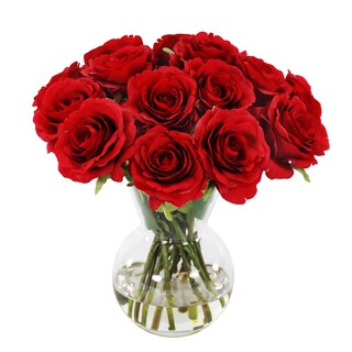 Jane Seymour Botanicals Red 11-inch-tall Faux Rose Bouquet in Glass Vase