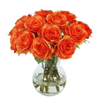 Jane Seymour Botanicals Orange Rose Bouquet In 11-inch Glass Vase