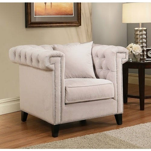 Abbyson Victoria Ivory Velvet Tufted Armchair