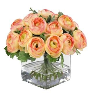 Jane Seymour Botanicals Ranunculus Bouquet in 8-inch Square Glass Vase