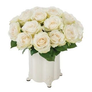 Jane Seymour Botanicals White Vintage Rose Bouquet in 11-inch-tall White Canister Vase