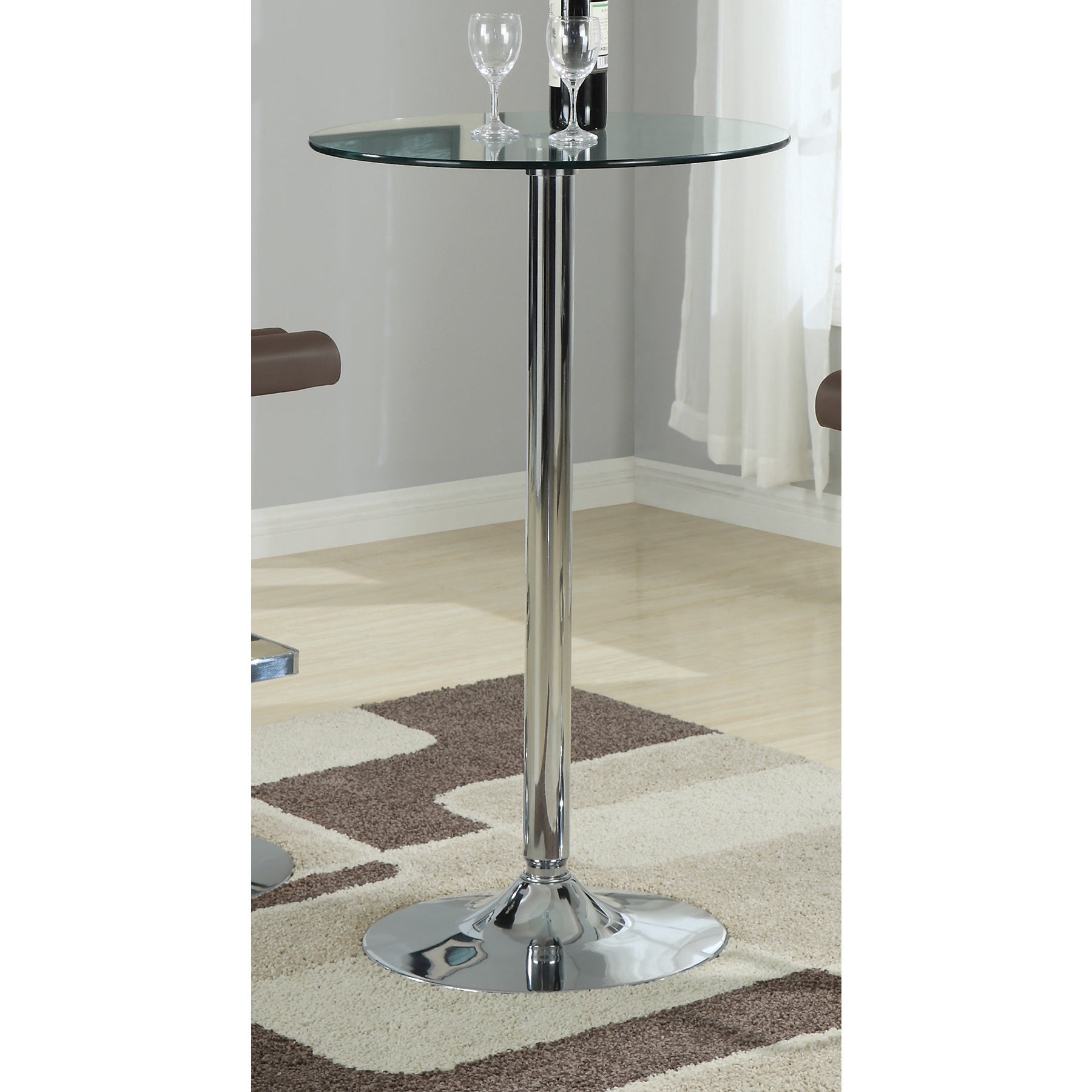 Coaster Company Round Silver Metal Bar Table