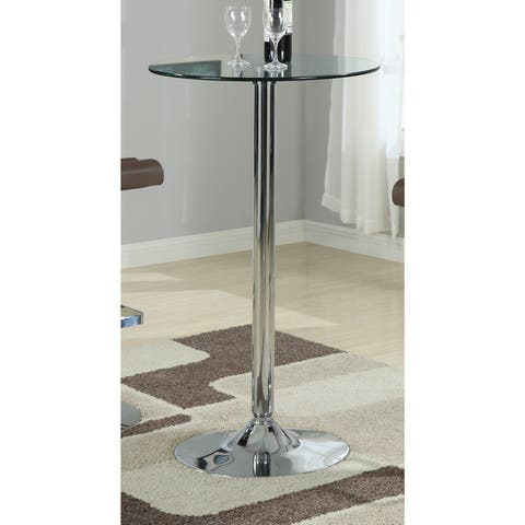 "Porch & Den Leary Round Silver Metal Bar Table - 40.50"" x 23.75"""