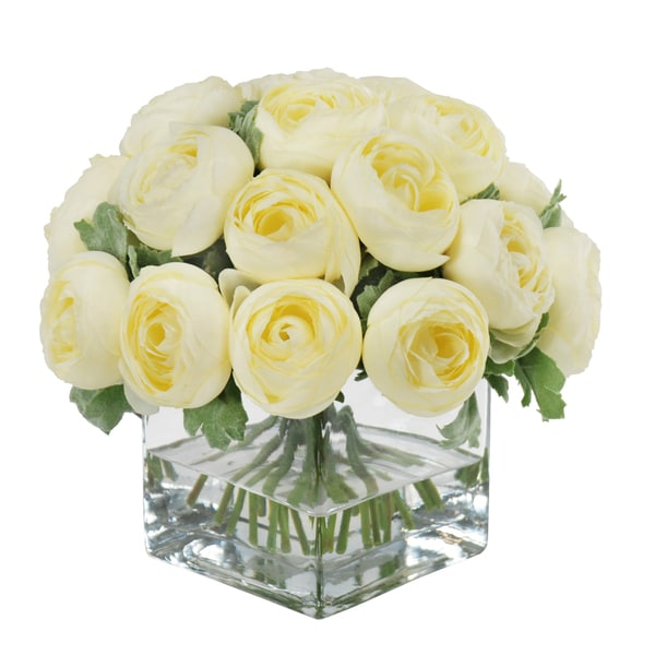 Jane Seymour Botanicals Cream Ranunculus Bouquet in 8-inch Clear Glass Square Vase