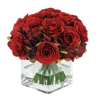 Jane Seymour Botanicals Red 8-inch Rose Bouquet In Square Glass Vase