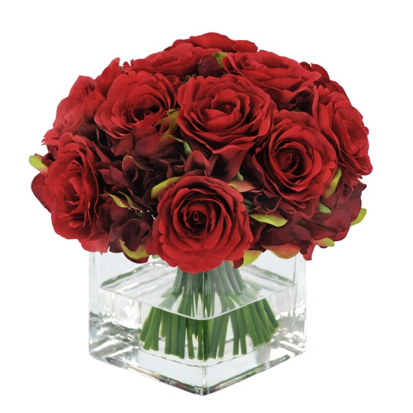 Jane Seymour Botanicals Red 8 Inch Rose Bouquet In Square Glass Vase