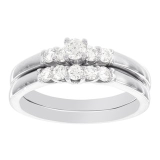 H Star 14k White Gold 1/2ct Diamond Bridal Set (I-J, I2-I3)