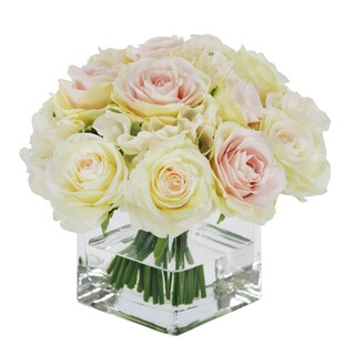 Jane Seymour Botanicals Pink White 8-inch Rose Bouquet in Square Glass Vase