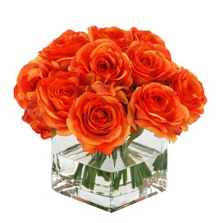Jane Seymour Botanicals Faux Silk Orange Rose Bouquet In Square Glass Vase