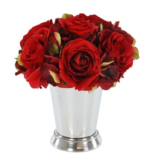 Jane Seymour Botanicals Red Rose Bouquet in 8-inch Metal Julep Cup