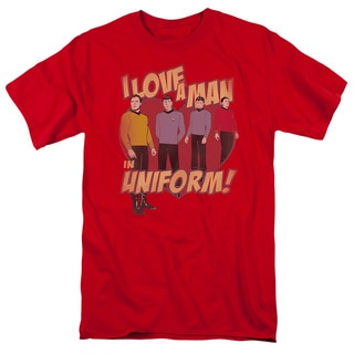 Star Trek/Man in Uniform Short Sleeve Adult T-Shirt 18/1 in Red