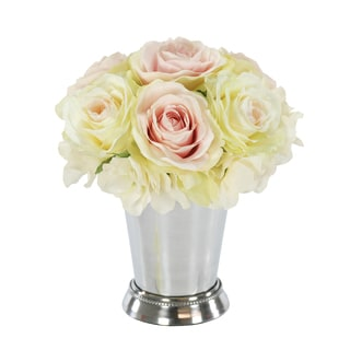 Jane Seymour Botanicals Pink/White Rose Bouquet in 8-inch Metal Julep Cup