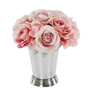 Jane Seymour Botanicals Pink Rose Bouquet In 8-inch Tall Metal Julep Cup
