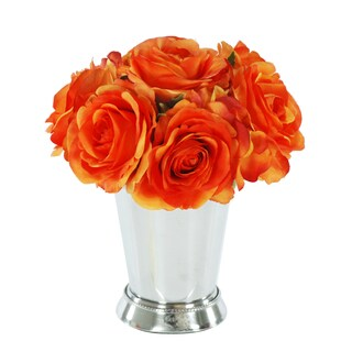Jane Seymour Botanicals Orange Rose Bouquet in 8-inch Metal Julep Cup
