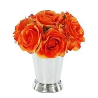 Jane Seymour Botanicals Orange Rose Bouquet in 8-inch Metal Julep Cup