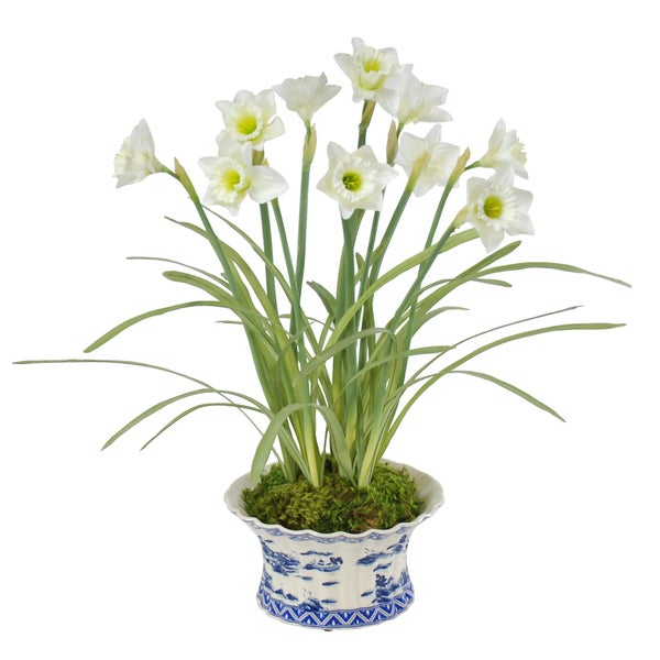 Jane Seymour Botanicals 25-inch Faux-silk White Daffodils with Foliage In Ceramic Vase