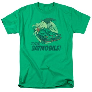 Batman Classic Tv/To The Batmobile Short Sleeve Adult T-Shirt 18/1 in Kelly Green