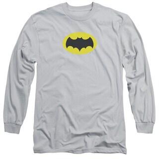 Batman Classic Tv/Chest Logo Long Sleeve Adult T-Shirt 18/1 in Silver