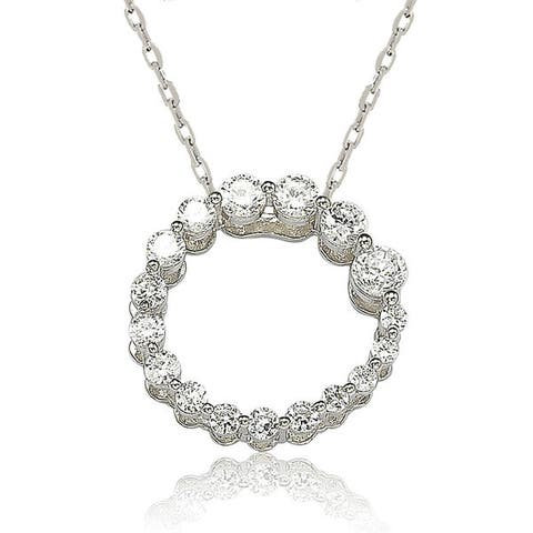 Suzy Levian Sterling Silver White Cubic Zirconia Circle Journey Necklace