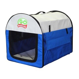 Go Pet Club Blue Polyester Foldable Pet Crate