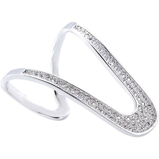 Simon Frank Silvertone CZ Micro Pave Knuckle-length Ring