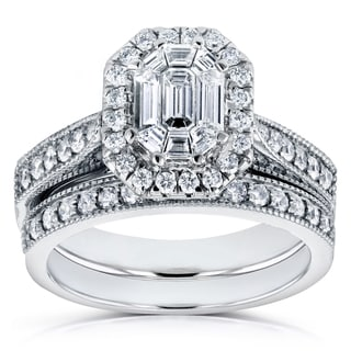 Annello 14k White Gold 1ct Emerald and Round Diamond Art Deco Cathedral Bridal Set (H-I, I1-I2)