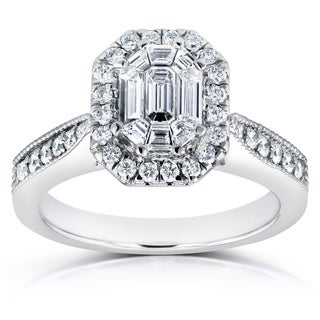 Annello 14k White Gold 7/8ct Emerald and Round Diamond Art Deco Cathedral Engagement Ring (H-I, I1-I2)