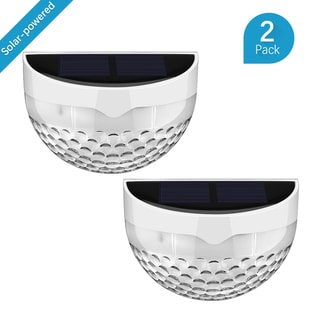 Solar-powered White Aluminum/ Metal/ Plastic Wireless Weatherproof Pathway Lighting (Set of 2)