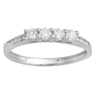 Elora 14K White Gold 1/2 ct. TDW Round Diamond Ladies Bridal Anniversary Wedding Band Stackable Ring (H-I,