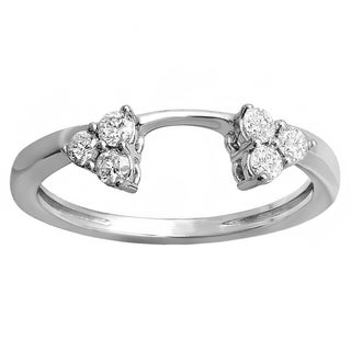 14K White Gold 1/3 ct. TDW Round Diamond Ladies Anniversary Wedding Ring Matching Guard Band (H-I,I1-I2)