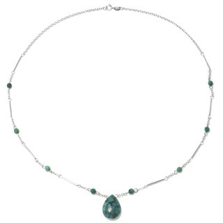Sterling Silver Enhanced Turquoise Teardrop Station Necklace