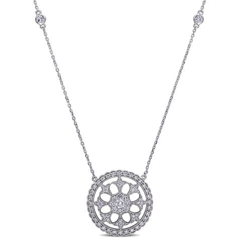 Miadora Signature Collection 14k White Gold 1ct TDW Diamond Vintage Necklace