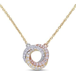Miadora 14k Tri-color White Yellow and Rose Gold 1/4ct TDW Diamond Swirl Necklace (G-H, SI1-SI2)