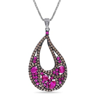 Miadora Signature Collection 14k White Gold Pink Sapphire and 1 1/10ct TDW Brown and White Diamond Teardrop Necklace