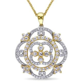 Miadora Signature Collection 14k 2-tone White and Yellow Gold White Sapphire 3/8ct TDW Diamond Filigree Necklace (G-H, SI1-SI2)