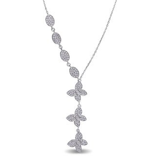 Miadora Signature Collection 18k White Gold 7/8ct TDW Diamond Butterfly Necklace