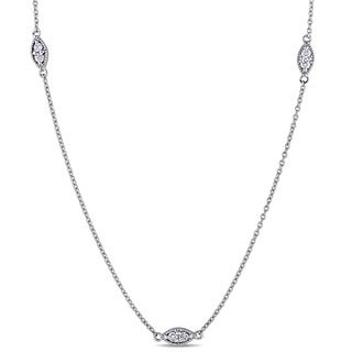 Miadora Signature Collection 18k White Gold 1/3ct TDW Diamond Station Necklace