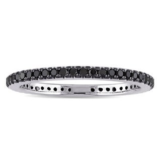Miadora 14k White Gold 3/8ct TDW Black Diamond Eternity Ring