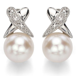 DaVonna Sterling Silver X-style White Cultured Freshwater Pearl Stud Earrings (8-9mm)