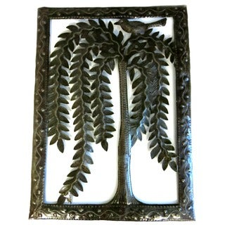Handcrafted Recycled Steel Drum Willow Tree Wall Art (Haiti)